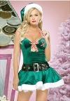 YYJ Green Christmas Одежда платье с шапочка, пояс